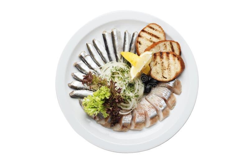 鲱鱼和西鲱用柠檬和油煎方型小面包片 免版税库存照片
