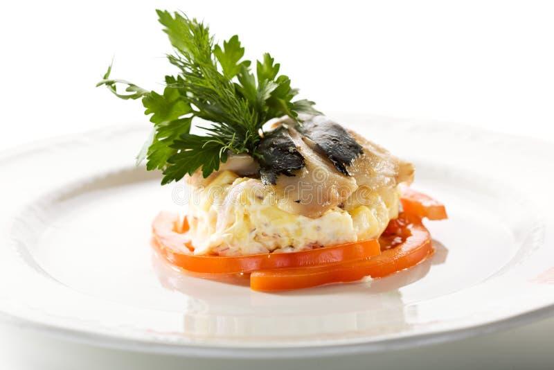 鲱鱼沙拉 库存照片