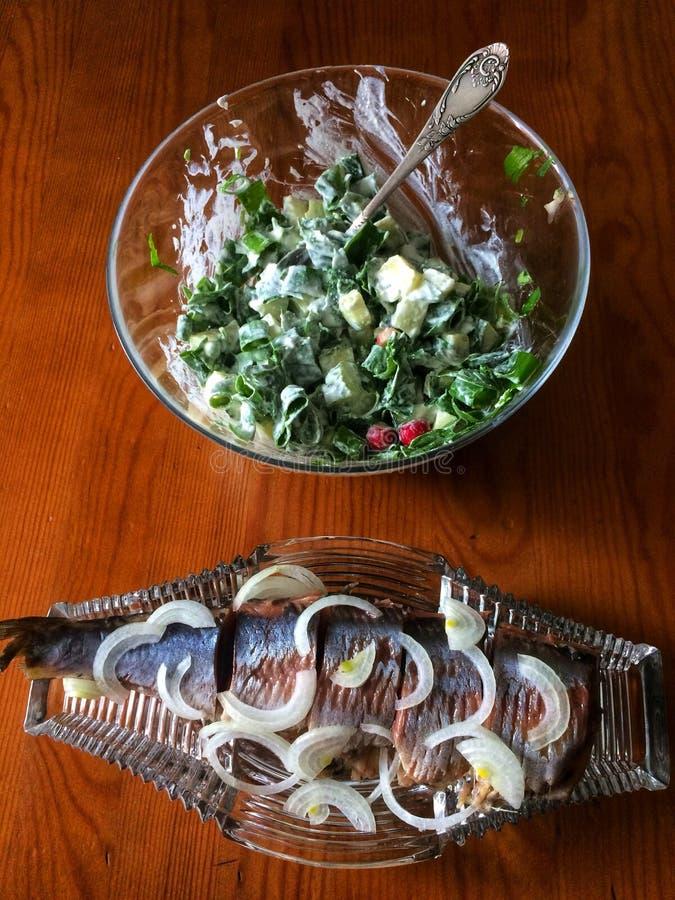 鲱鱼&沙拉 免版税库存照片