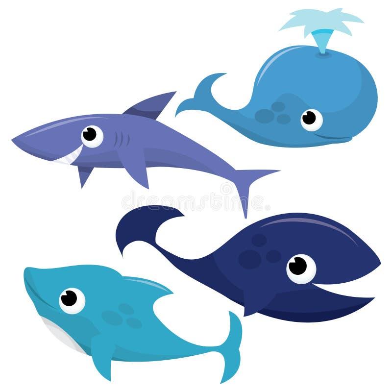 鲸鱼、鲨鱼和海豚 库存例证