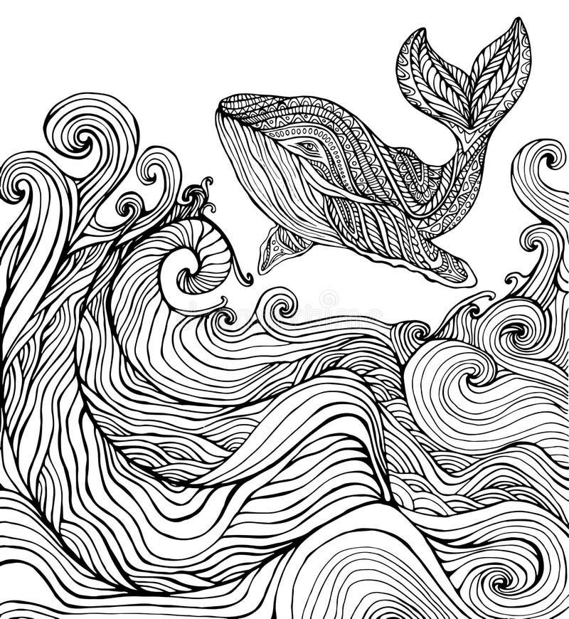 鲸鱼和上色页的海浪 库存例证
