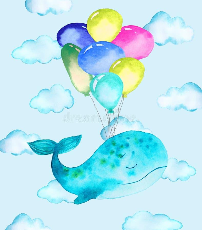 鲸鱼和气球的例证 库存例证