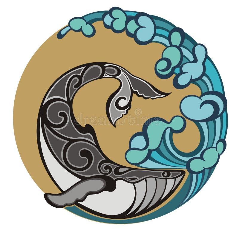 鲸鱼商标 大波浪和海鱼 库存例证