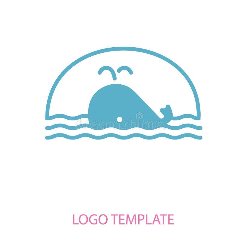 鲸鱼线性风格化图画  库存例证