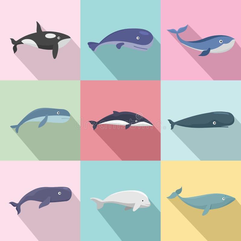 鲸鱼蓝色传说鱼象设置了,平的样式 库存例证