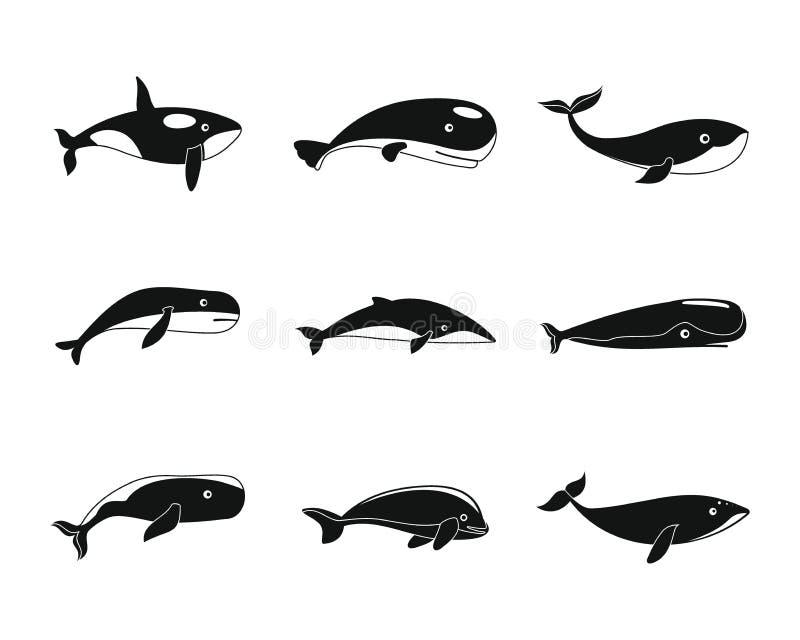 鲸鱼蓝色传说鱼象设置了,简单的样式 库存例证