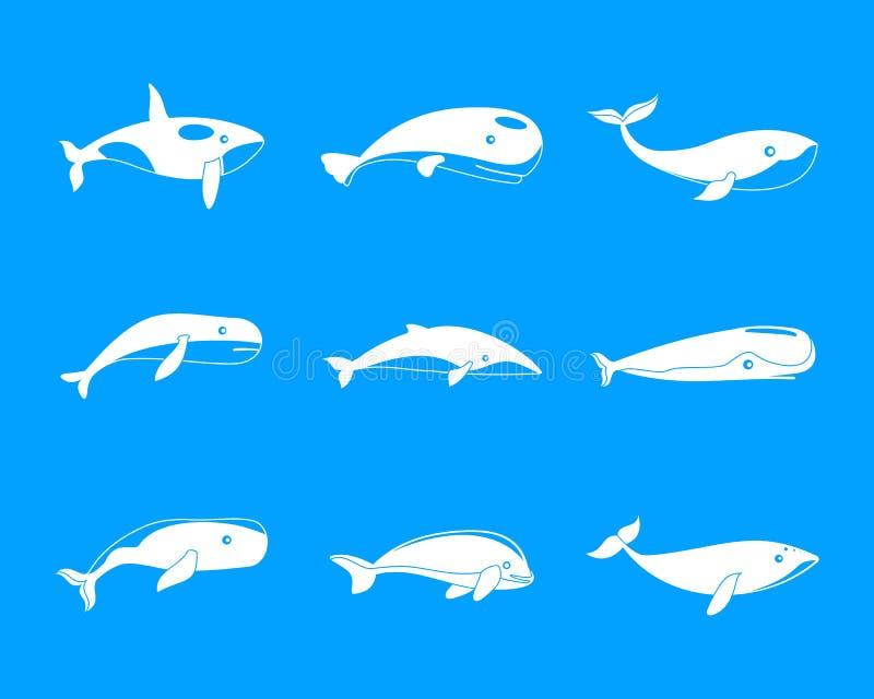 鲸鱼蓝色传说鱼象设置了,简单的样式 皇族释放例证