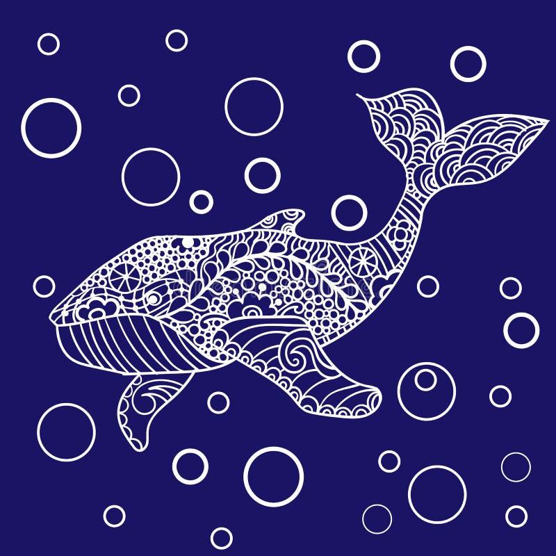 鲸鱼,传染媒介zentangle印刷品,成人着色页 手拉艺术性地,装饰物仿造了鲸鱼例证 库存例证