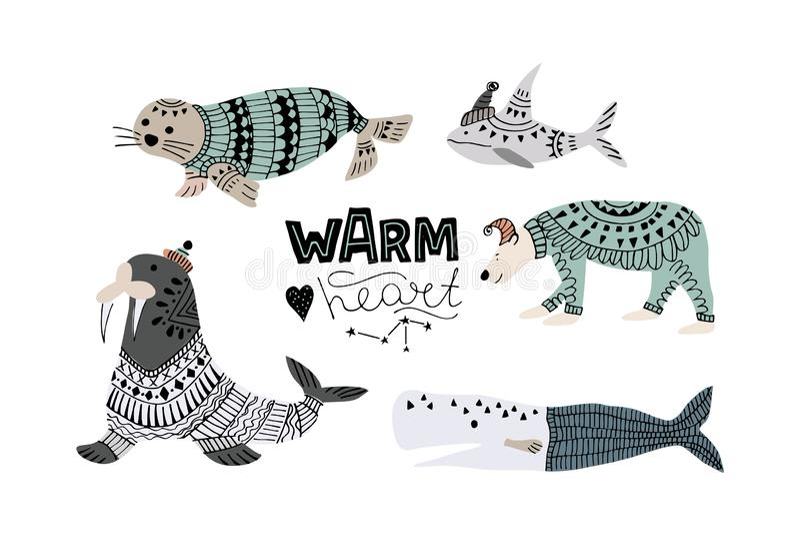 鲸鱼,鱼的传染媒介例证例如narwhal,蓝鲸、企鹅、白海豚、驼背鲸、抹香鲸和鲨鱼,海象, 库存例证
