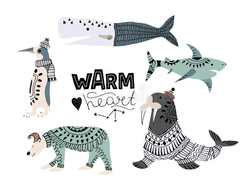 鲸鱼,鱼的传染媒介例证例如narwhal,蓝鲸、企鹅、白海豚、驼背鲸、抹香鲸和鲨鱼,海象, 皇族释放例证