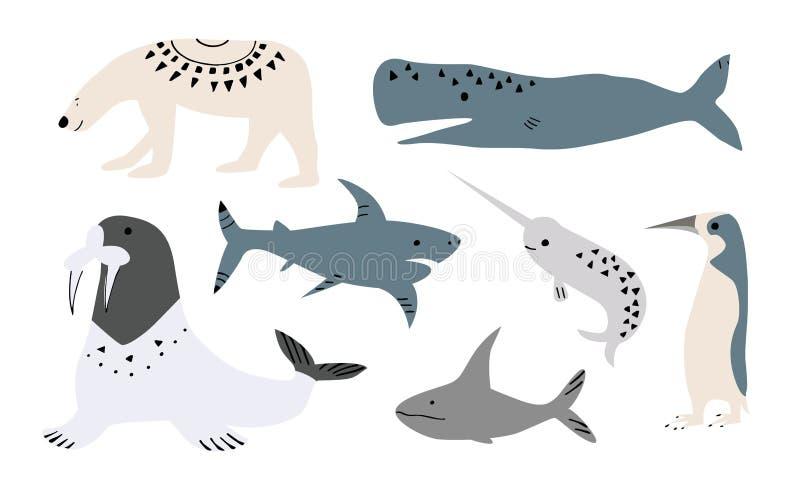 鲸鱼,鱼的传染媒介例证例如narwhal,蓝鲸、企鹅、白海豚、驼背鲸、抹香鲸和鲨鱼 向量例证