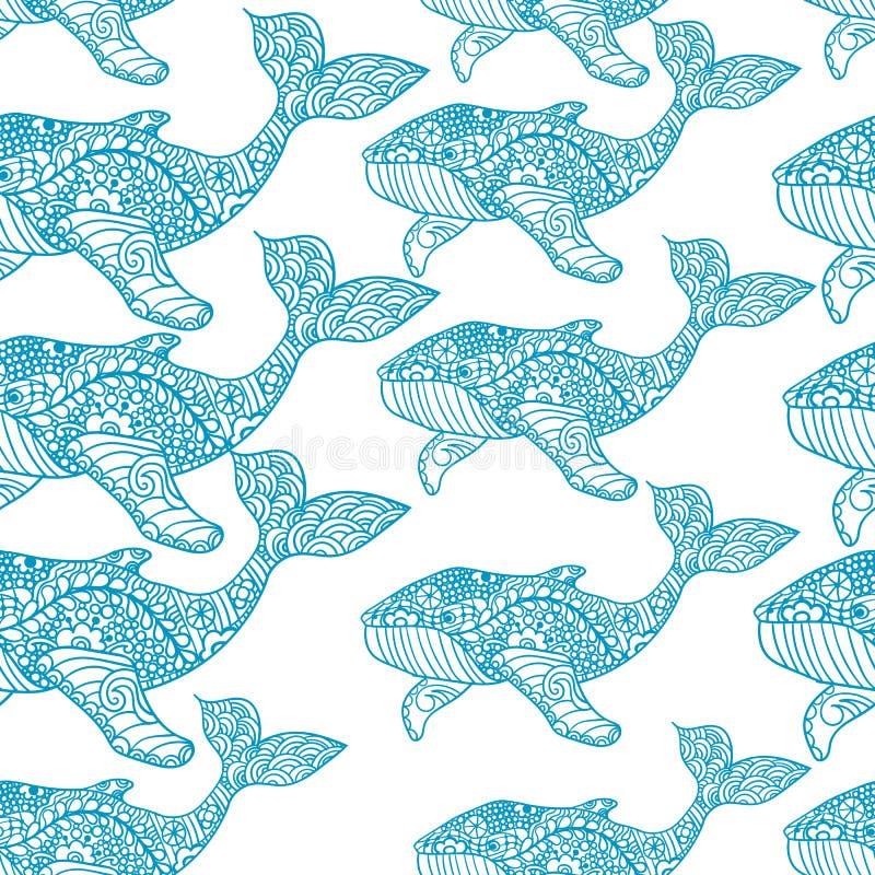 鲸鱼 无缝的背景 无缝的样式可以为墙纸,样式积土,网页背景,表面使用 皇族释放例证
