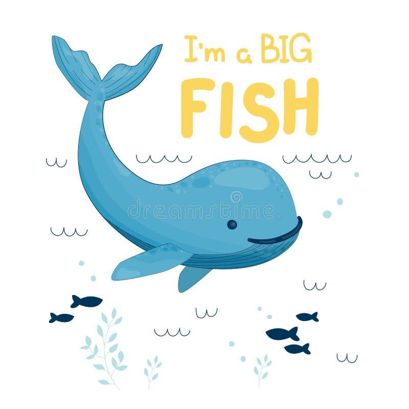 鲸鱼i是一条大鱼 向量例证