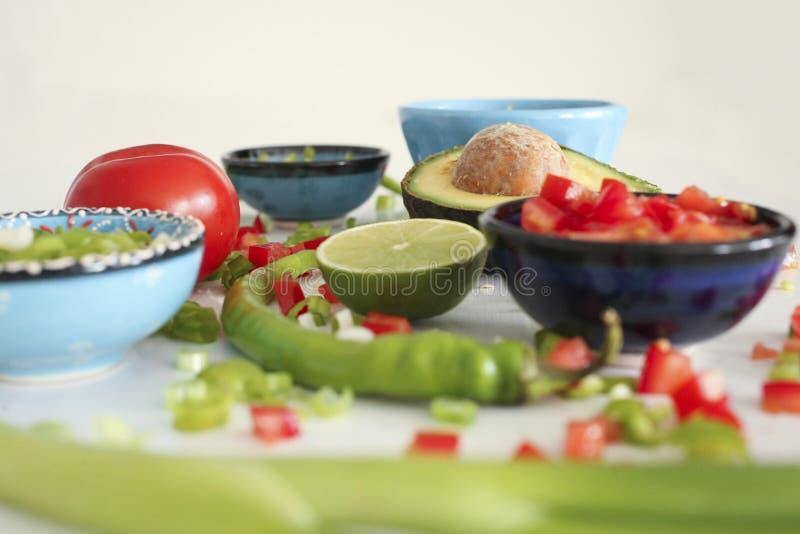 鳄梨调味酱捣碎的鳄梨酱成份:鲕梨,辣椒粉,蕃茄,葱 免版税库存图片