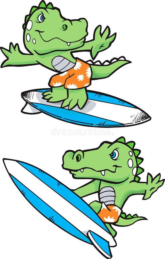 鳄鱼例证冲浪