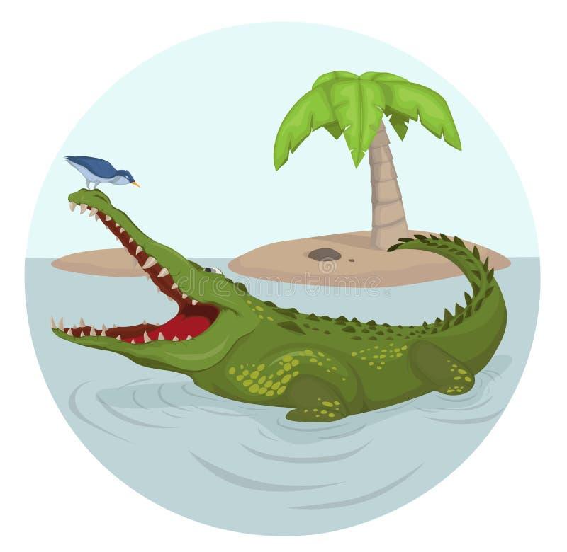鳄鱼和鸟传染媒介 漫画人物例证 皇族释放例证