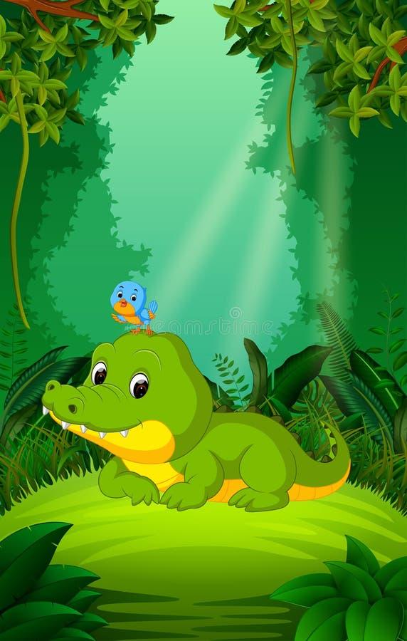 鳄鱼和鸟无危险和绿色森林 皇族释放例证