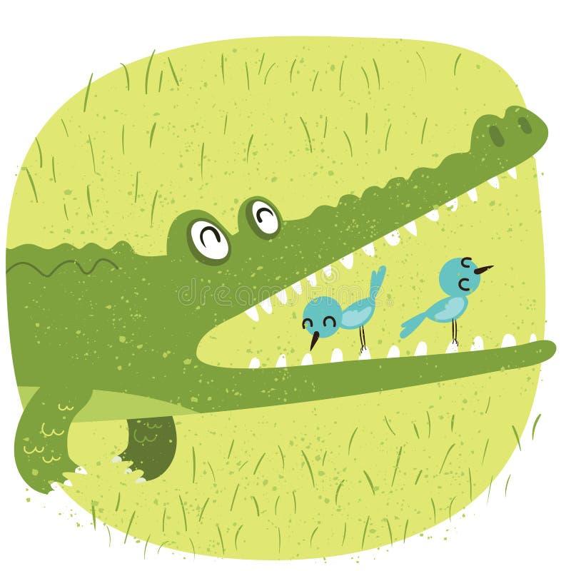 鳄鱼和鸟 库存例证