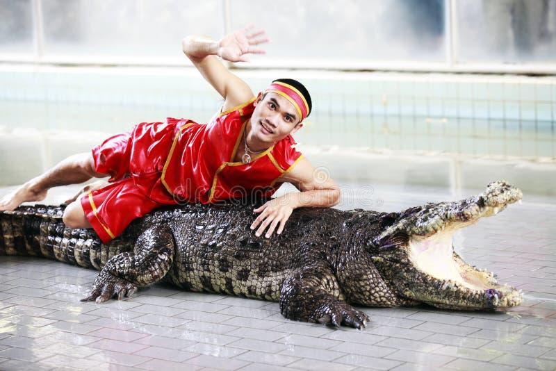 鳄鱼显示泰国 免版税库存照片