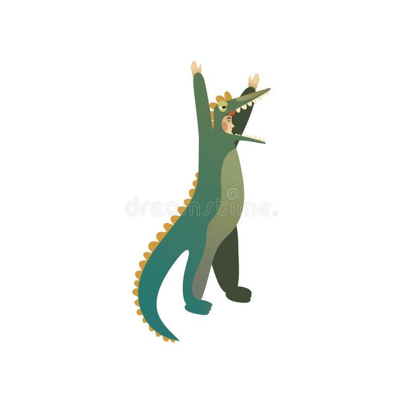 鳄鱼服装的年轻人用手 背景漫画人物厚颜无耻的逗人喜爱的狗愉快的题头查出微笑白色 万圣夜党的成套装备 平的传染媒介设计 向量例证