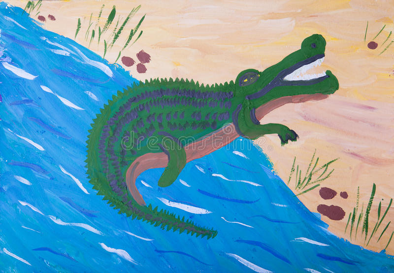 鳄鱼的儿童图片 向量例证