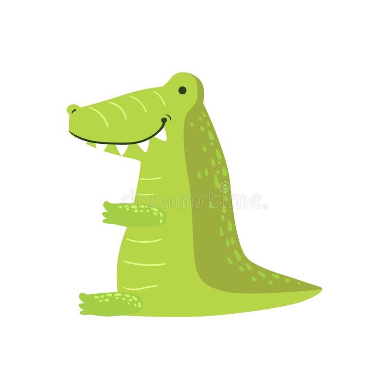 鳄鱼风格化幼稚图画 皇族释放例证