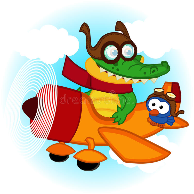 鳄鱼鸟飞行乘飞机 向量例证