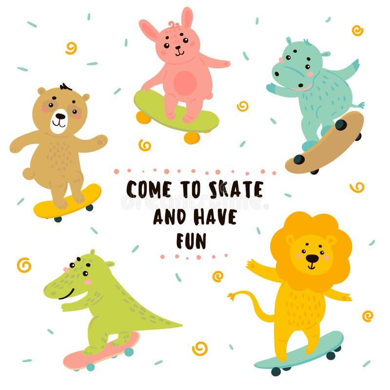 鳄鱼,狮子,兔宝宝,熊,河马溜冰板运动 皇族释放例证