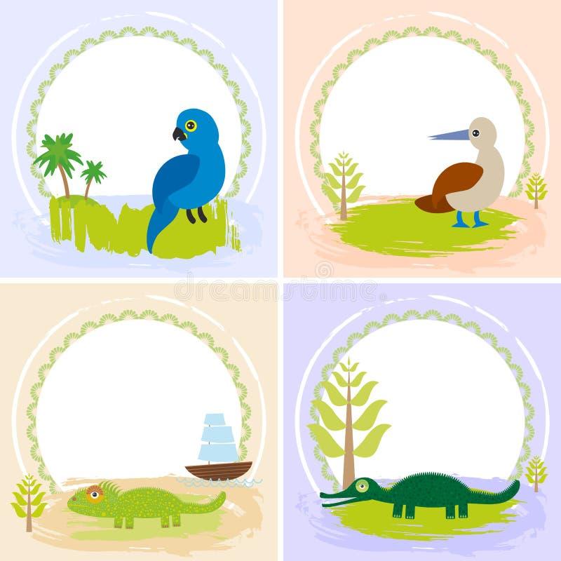 鳄鱼,鳄鱼,鬣鳞蜥,鹦鹉鸟,笨蛋,套与滑稽的动物的卡片设计,您的文本的模板横幅 向量例证