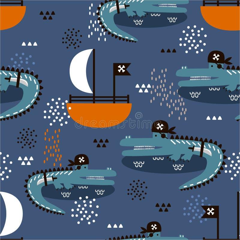 鳄鱼-海盗,小船,五颜六色的逗人喜爱的无缝的样式 与动物的装饰背景 向量例证