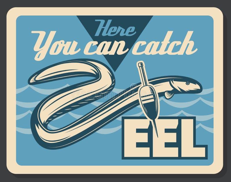 鳗鱼鱼渔传染媒介减速火箭的海报 库存例证