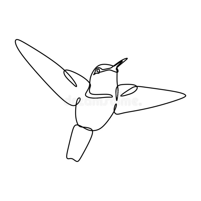 鸟一在白色背景的线描连续的lineart最低纲领派设计 库存例证