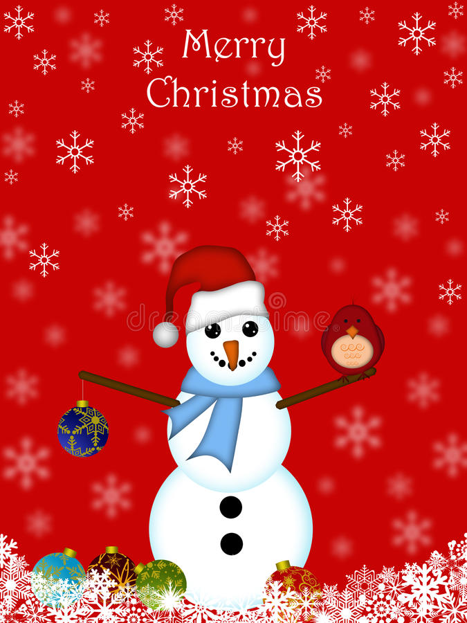 鸟主要圣诞节停止的装饰品雪人 皇族释放例证