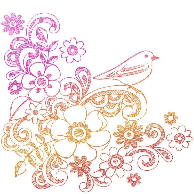 鸟乱画概略花的笔记本 皇族释放例证