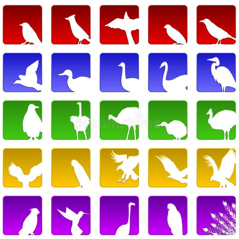 鸟五图标二十 库存例证