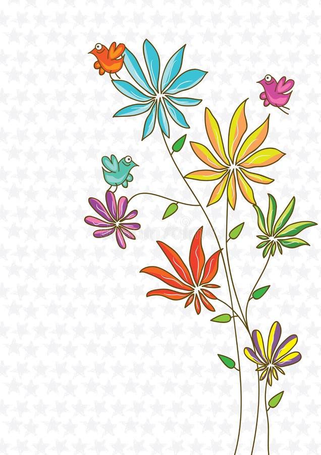 鸟五颜六色的eps花空间 皇族释放例证