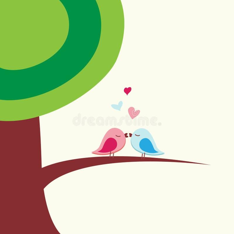 鸟亲吻浪漫 向量例证
