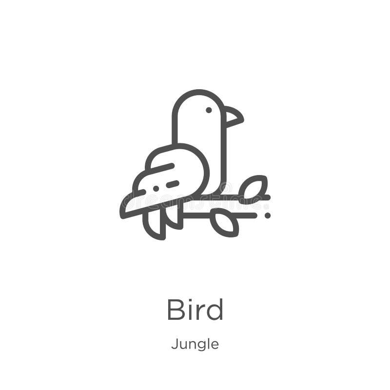 鸟从密林汇集的象传染媒介 稀薄的线鸟概述象传染媒介例证 概述,稀薄的线网站的鸟象 库存例证