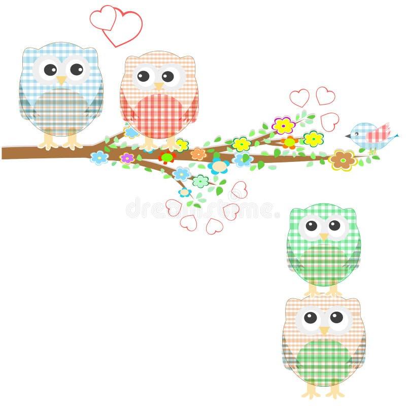 鸟分行猫头鹰结构树 库存例证