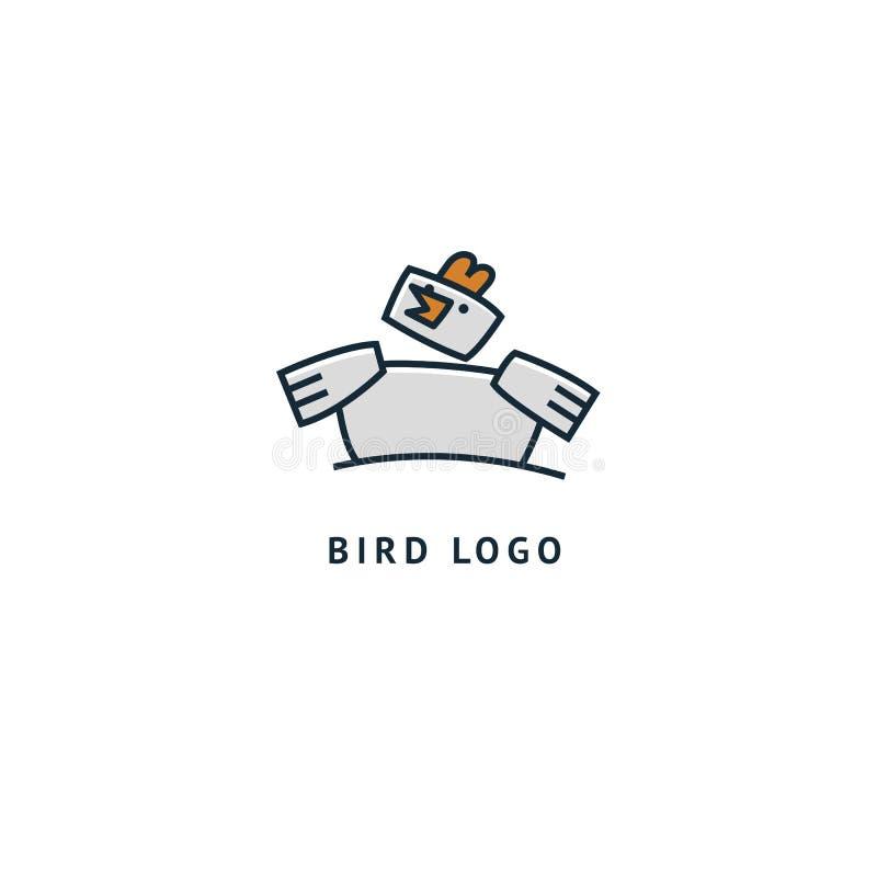 鸟剪影商标 传染媒介抽象minimalistic例证飞行家畜 驼鸟象 动物园,宠物店,农场,鸟羽毛,狂放 向量例证