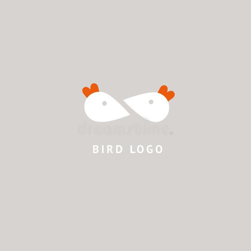 鸟剪影商标 传染媒介抽象minimalistic例证飞行家畜 驼鸟象 动物园,宠物店,农场,鸟羽毛,狂放 库存例证