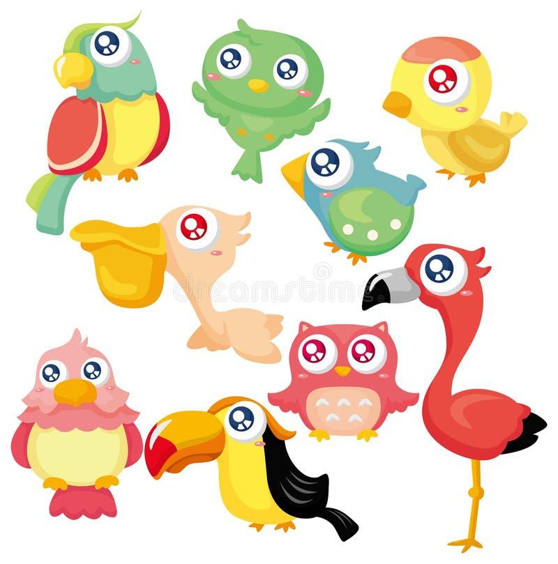 鸟动画片图标集 库存例证