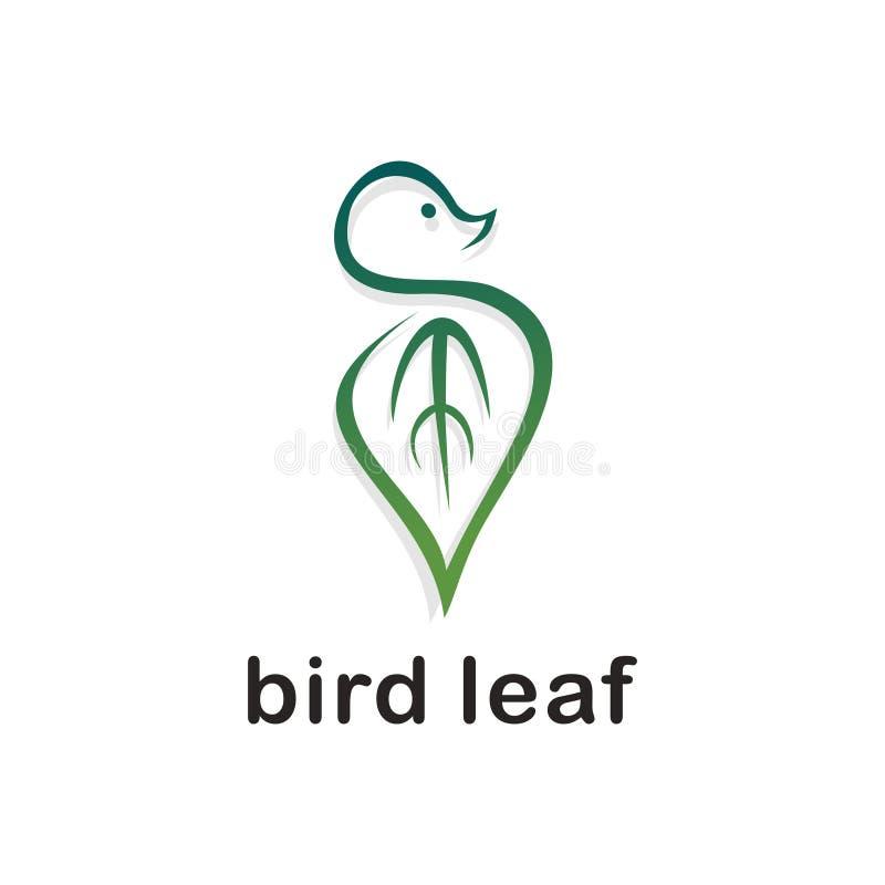 鸟叶子商标传染媒介 在白色背景隔绝的绿色梯度颜色 皇族释放例证