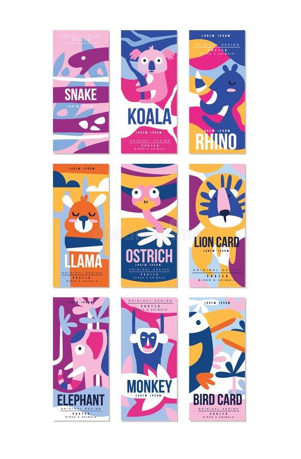 鸟和动物海报集合,与蛇,考拉,犀牛,骆马,驼鸟,狮子,大象,猴子,鸟的设计元素能 库存例证