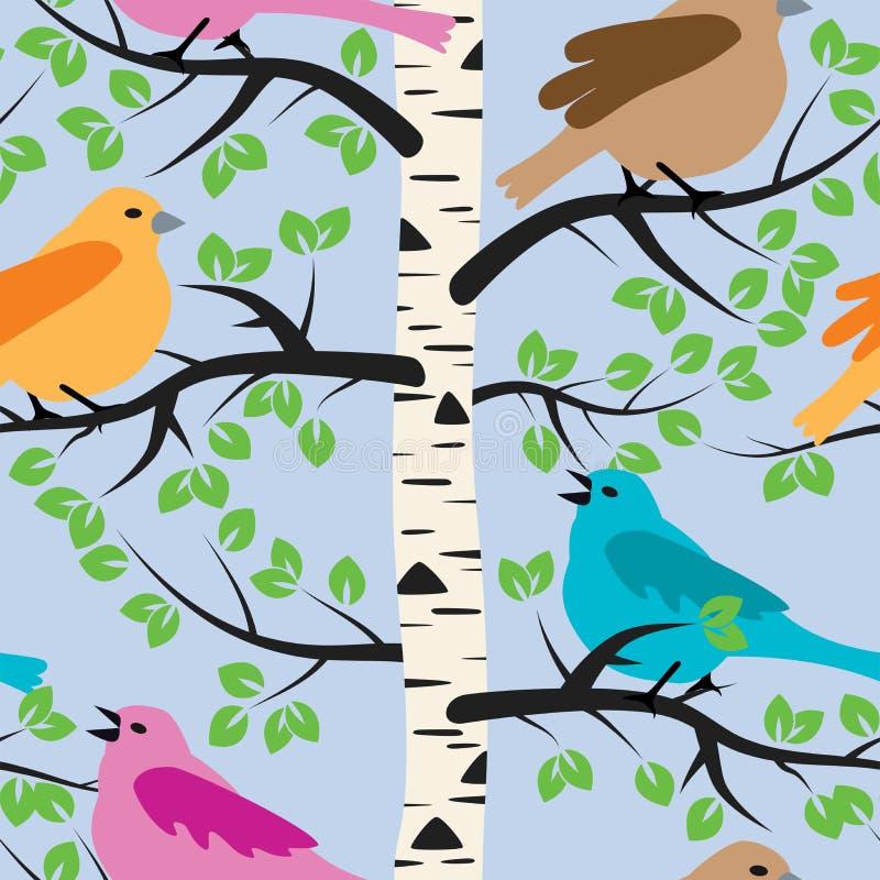鸟和桦树 皇族释放例证