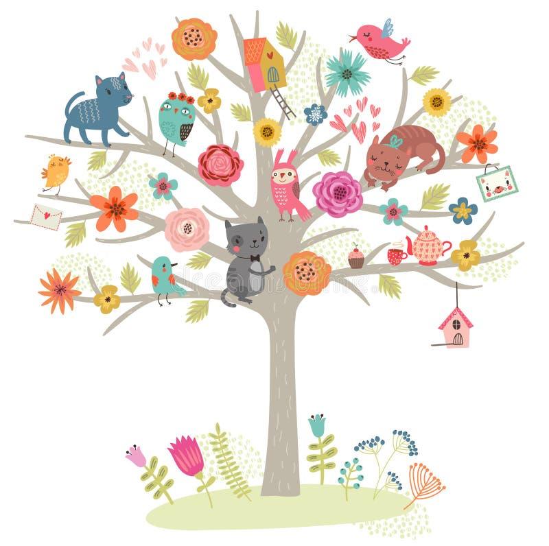 鸟和猫在树 也corel凹道例证向量 库存例证
