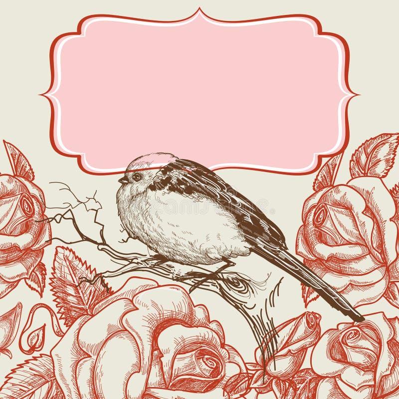 鸟和玫瑰 库存例证