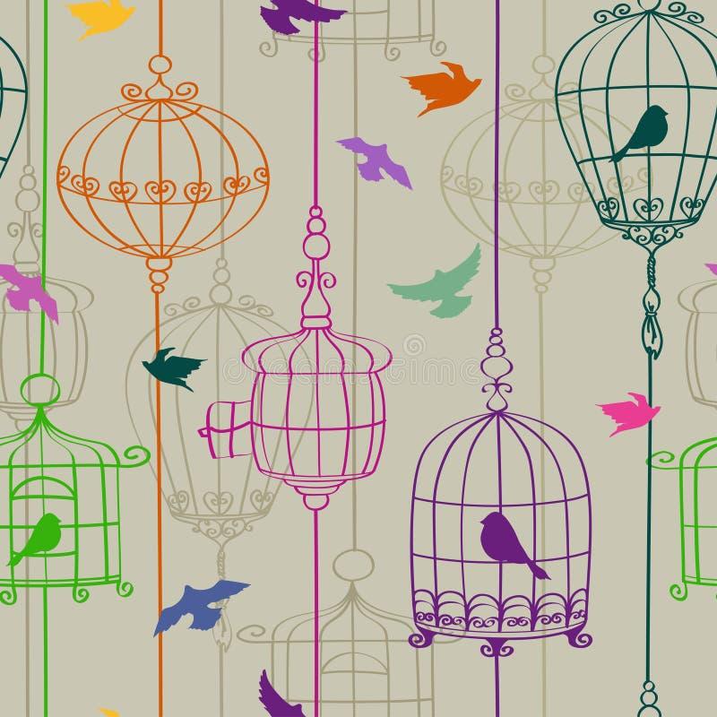 鸟和笼子的无缝的样式 向量例证