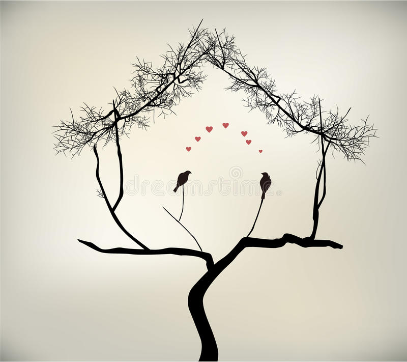 鸟和结构树 向量例证