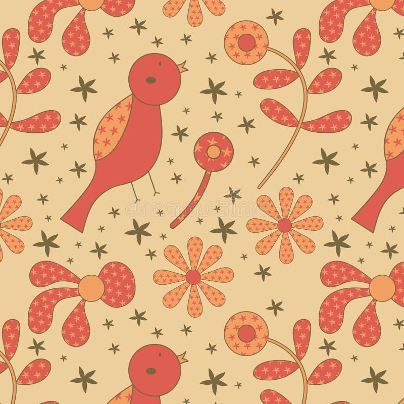 鸟和花纹花样 免版税库存图片